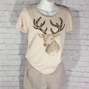 J.CREW T-SHIRT CHRISTMAS NOVELTY DEER HUNTING TEE